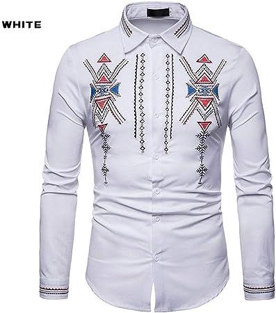 Camisa de Verano para Hombre 1 PCS Hombres de Corte Real Bordado del Viento Henry Collar