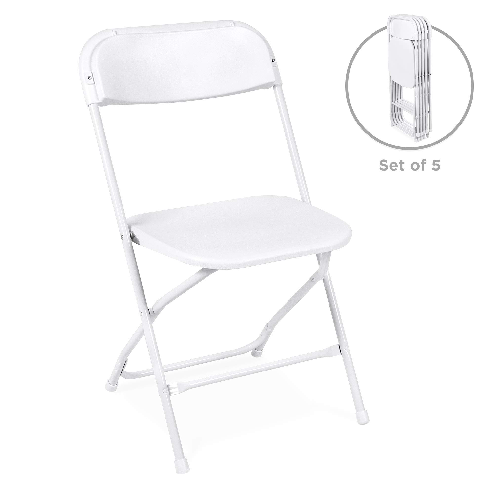 Best Choice Products Set of 5 Indoor Outdoor Portable Stackable Lightweight Plastic Folding Chairs for Events, Parties - White by Best Choice Products