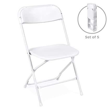 Amazon.com Best Choice Products (5) Commercial White Plastic Folding Chairs Stackable Wedding Party Event Chair Garden u0026 Outdoor  sc 1 st  Amazon.com & Amazon.com: Best Choice Products (5) Commercial White Plastic ...