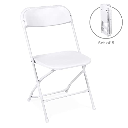 Best Choice Products Set of 5 Indoor Outdoor Portable Stackable Lightweight Plastic Folding Chairs for Events, Parties - White