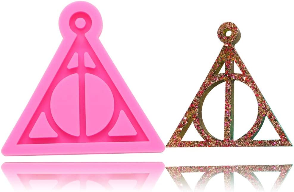 Deathly Hallows Harry Logo Sign Pendant Keychain Silicone Mold with Hole DIY Jelly Shots Ice Cream Crystal Desserts Gum Paste Fondant Mold Candy Cupcake Cake Topper Decoration Pudding