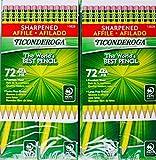Ticonderoga Sharpened Pencils #2 HB Premium Wood Latex-Free Eraser, (144 Pencils)