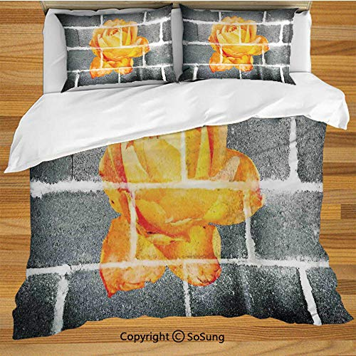 SoSung Rustic Flower Decor King Size Bedding Duvet Cover Set,Trippy Modern Graffiti with Rose Petals on Brick Wall Urban City Life Decorative 3 Piece Bedding Set with 2 Pillow Shams,Grey - Rose New Cottage Petal