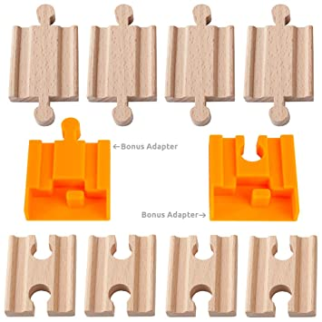 Orbrium Toys 8 Pcs Wooden Train Track Male Female Adapter Pack Fits