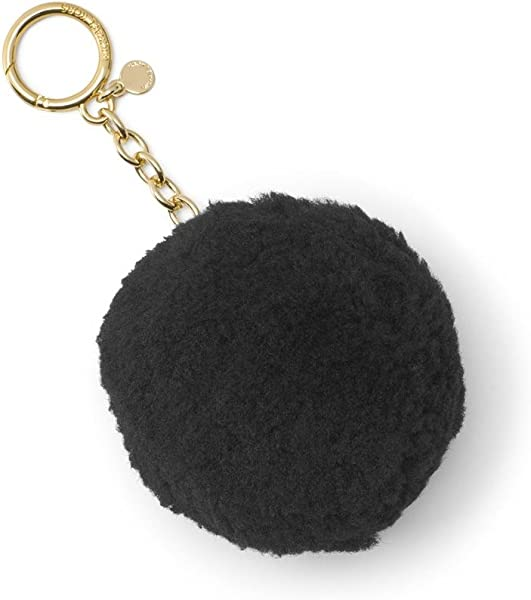Michael Kors Shearling Pompom Gold Chain Keychain Purse Fob Black Not Applicable