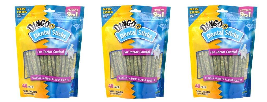 Dingo Brand Dental Sticks, 48 Per Pack, Pack of 3