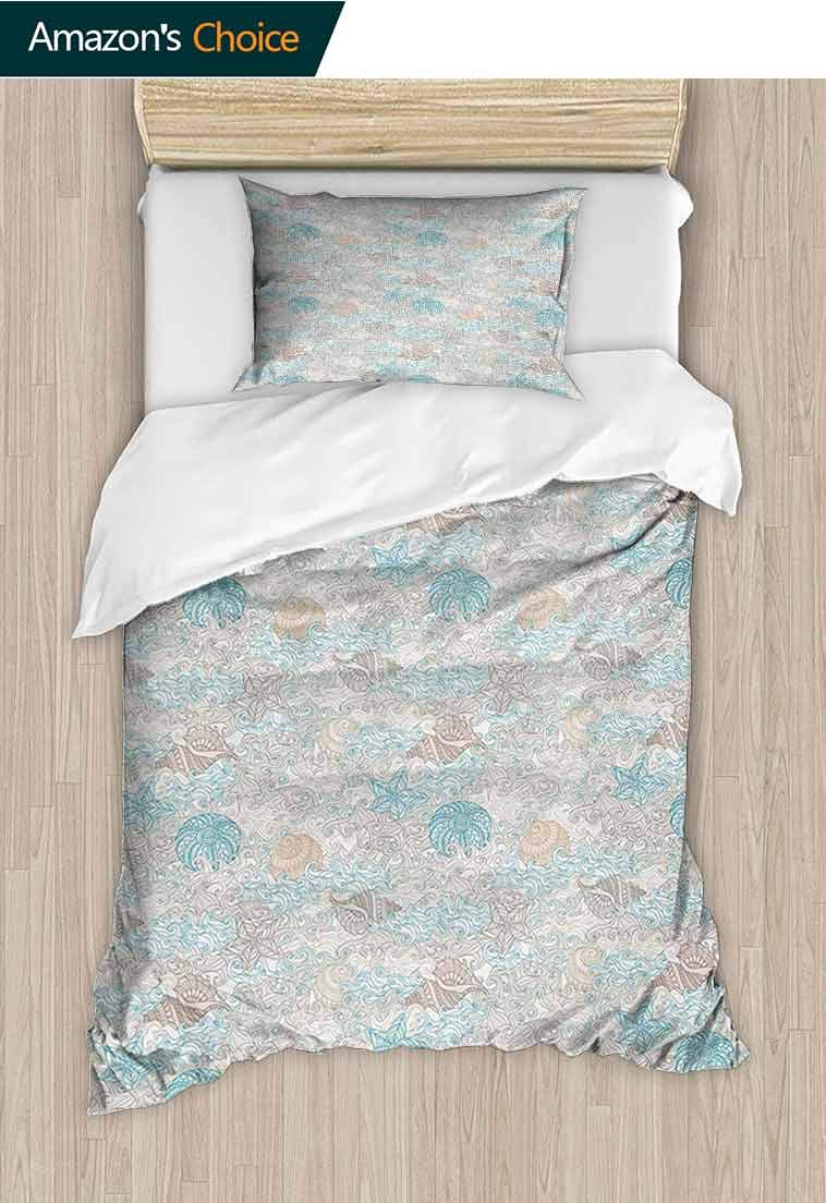 Nautical Printed Quilt Cover and Pillowcase Set, Pastel Toned Sea Shell Starfish Mollusk Seahorse Coral Reef Motif Design, Reversible Coverlet, Bedspread, Gifts for Girls Women, 47 W x 59 L Inches