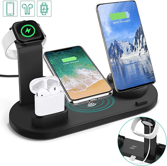 Auzev Wireless Charger Station,6 in 1 Charging Dock for AppleMicroType C Phones iWatch Airpods,Qi Fast Wireless Charger Compatible with iPhone