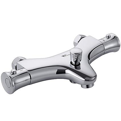 Amzdeal Grifo de bañera termostático, Grifo mezclador para agua caliente y fría 20-50