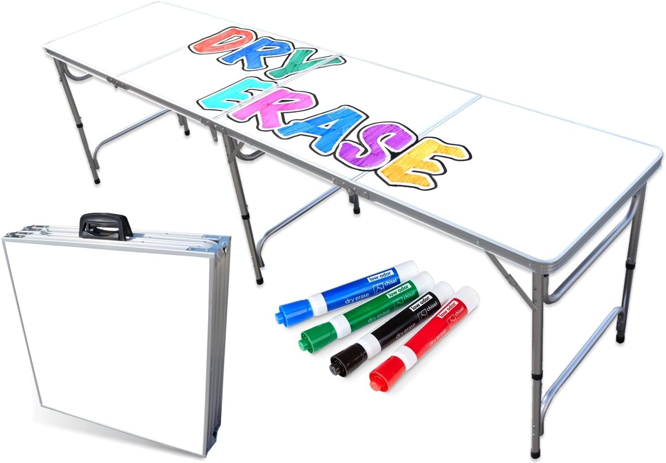PartyPongTables.com Portable Folding Table w Surface Markers for Art, Classroom, Parties, and More 4 ft or 8 ft