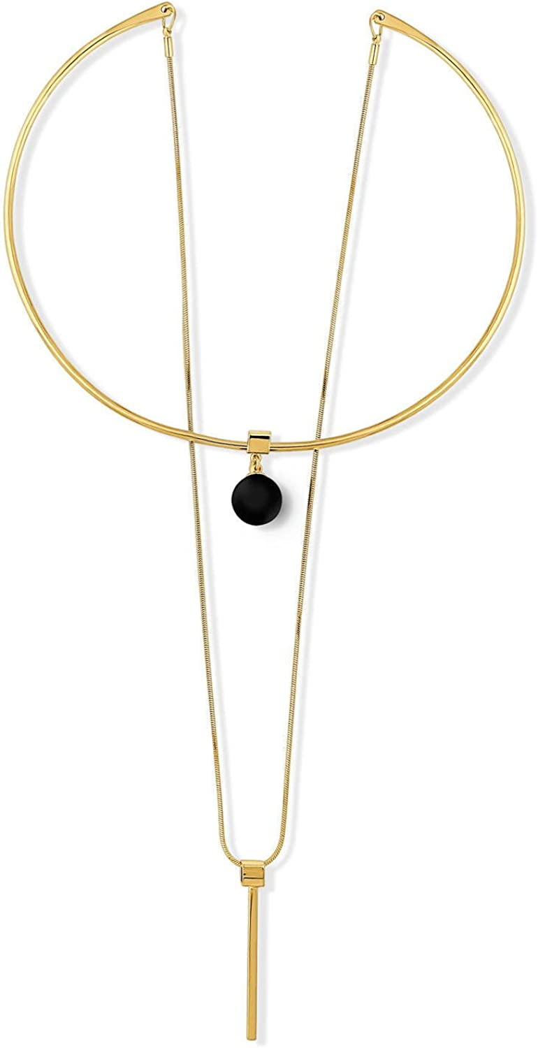 BERRICLE Gold Flashed Base Metal Ball Bead Bar Open Circle Fashion Choker Necklace and Earrings Set