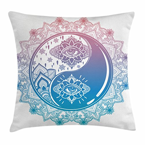 Ambesonne Ying Yang Throw Pillow Cushion Cover, Mandala Round Ombre Pattern with Yin Yang Third Eye Cultural Mystic Art, Decorative Square Accent Pillow Case, 18
