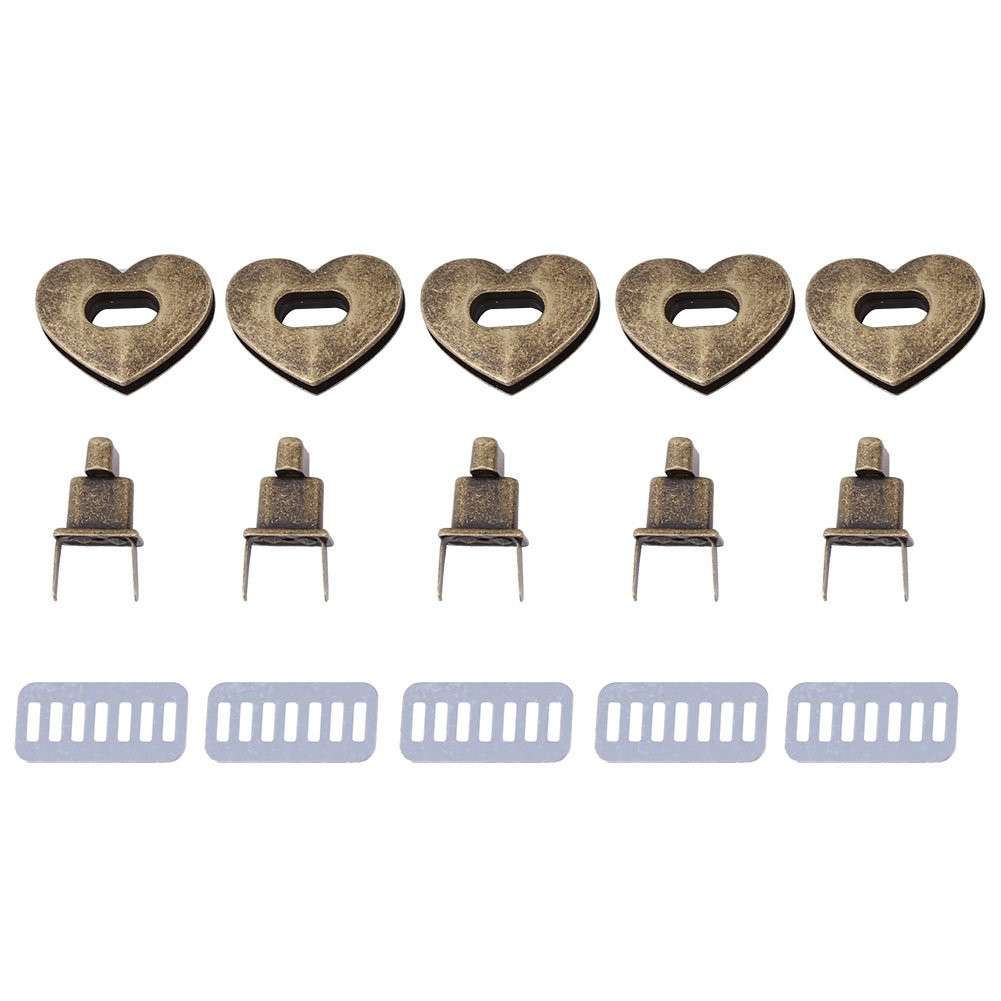 5 Sets Heart-shaped Metal Clasp, Craft Case Clasp Heart Shaped Turnlock Hardware Handbag Bag Belt Twist Lock Accessory 3.2 × 2.8 cm (Bronze)