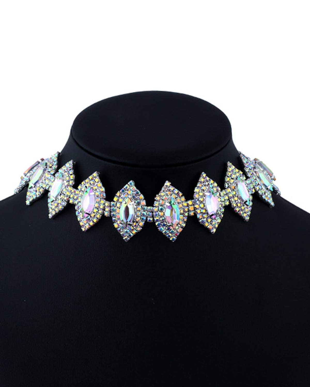 Croozy Womens Clear Rhinestone Choker Girls Crystal Necklace Wedding Collar Party Choker Necklace
