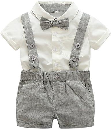 2Pcs Outfits Kids Baby Boys Summer Gentleman Bowtie Short Sleeve Shirt+Suspenders Shorts Set