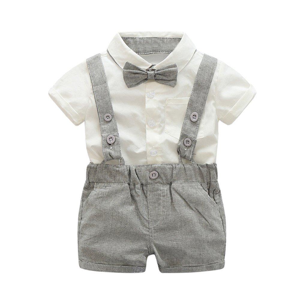 ❤ Conjunto de Caballero para bebé, Kids Baby Boys Summer Bowtie Camiseta de Manga Corta + pantalón Corto de Tirantes Absolute: Amazon.es: Ropa y ...