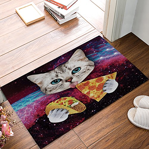 Prime Leader Indoor Doormat Stylish Welcome Mat Cats Pizza Starry Sky Entrance Shoe Scrap Washable Apartment Office Floor Mats Front Doormats Non-Slip Bedroom Carpet Home Kitchen Rug 23.6