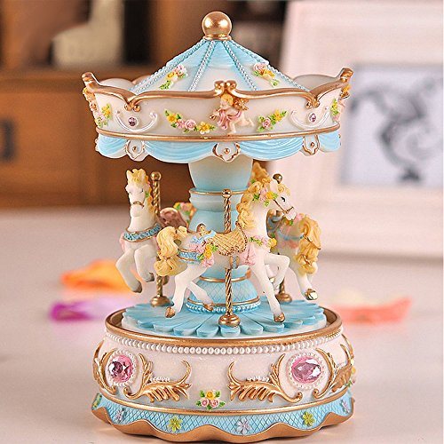 LOHOME Luxury 3-horse Carousel Music Box, Rotate Horse Music Box with Colorful LED Light and Castle in the Sky Tune Christmas Birthday Gift (Blue)