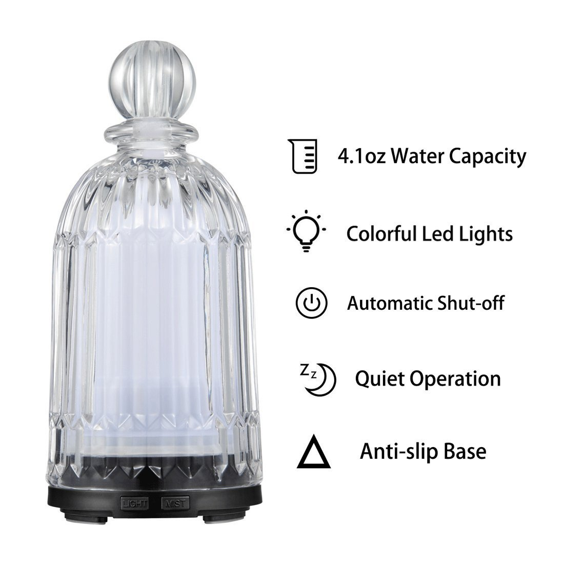 LATITOP Glass Oil Diffuser Ultrasonic Aromatherapy diffuser for Essential Oils with 7-color LED Lights, Automatic Shut-off Function (Black)