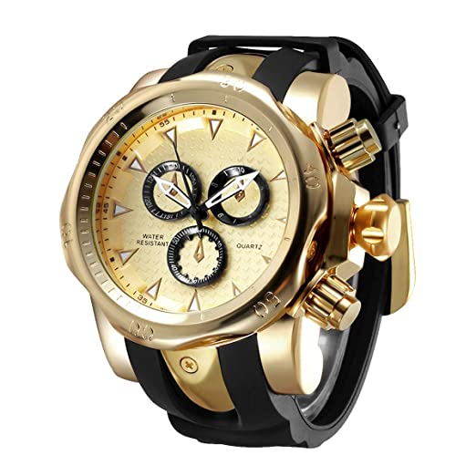 Astarsport Mens Large Dial Big Heavy Silicone Wrist Watch Gold relojes de Hombre