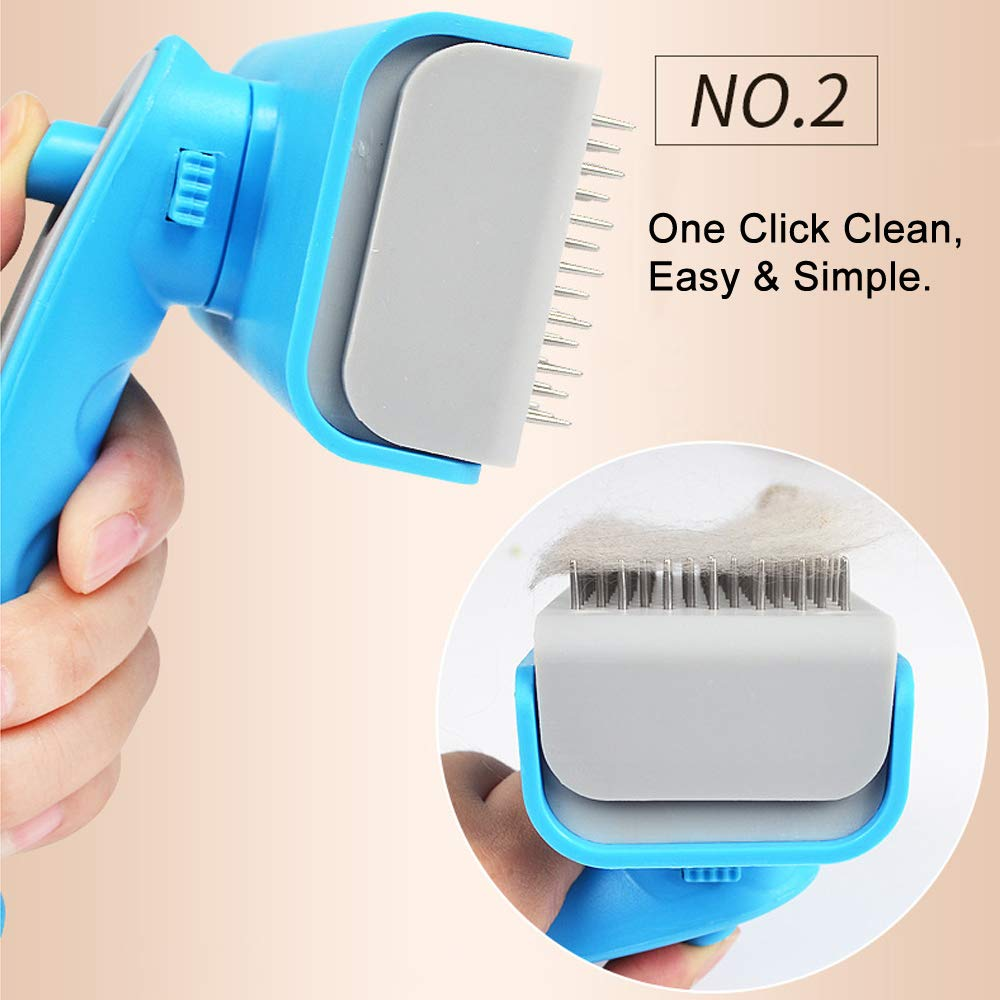 Best Dog Brush Grooming Dematting Flea Comb for Dogs Cats Self Cleaning Slicker Brush Best Shedding Brush for Long & Thick Hair Stainless Steel Thicker Pins
