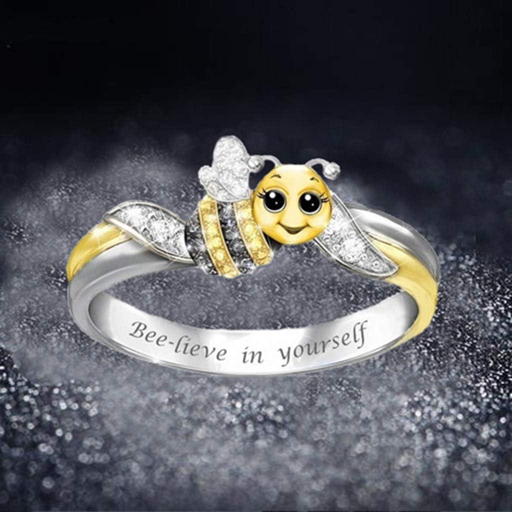 """Multicolor, 49.3(5) /""""Bee-lieve in youeself /""""Bague abeille mignonne Charm Filles Bijoux Saint Valentin cadeaux danniversaire pour amis peut /être utilis/é comme cadeaux danniversaire pour filles"""