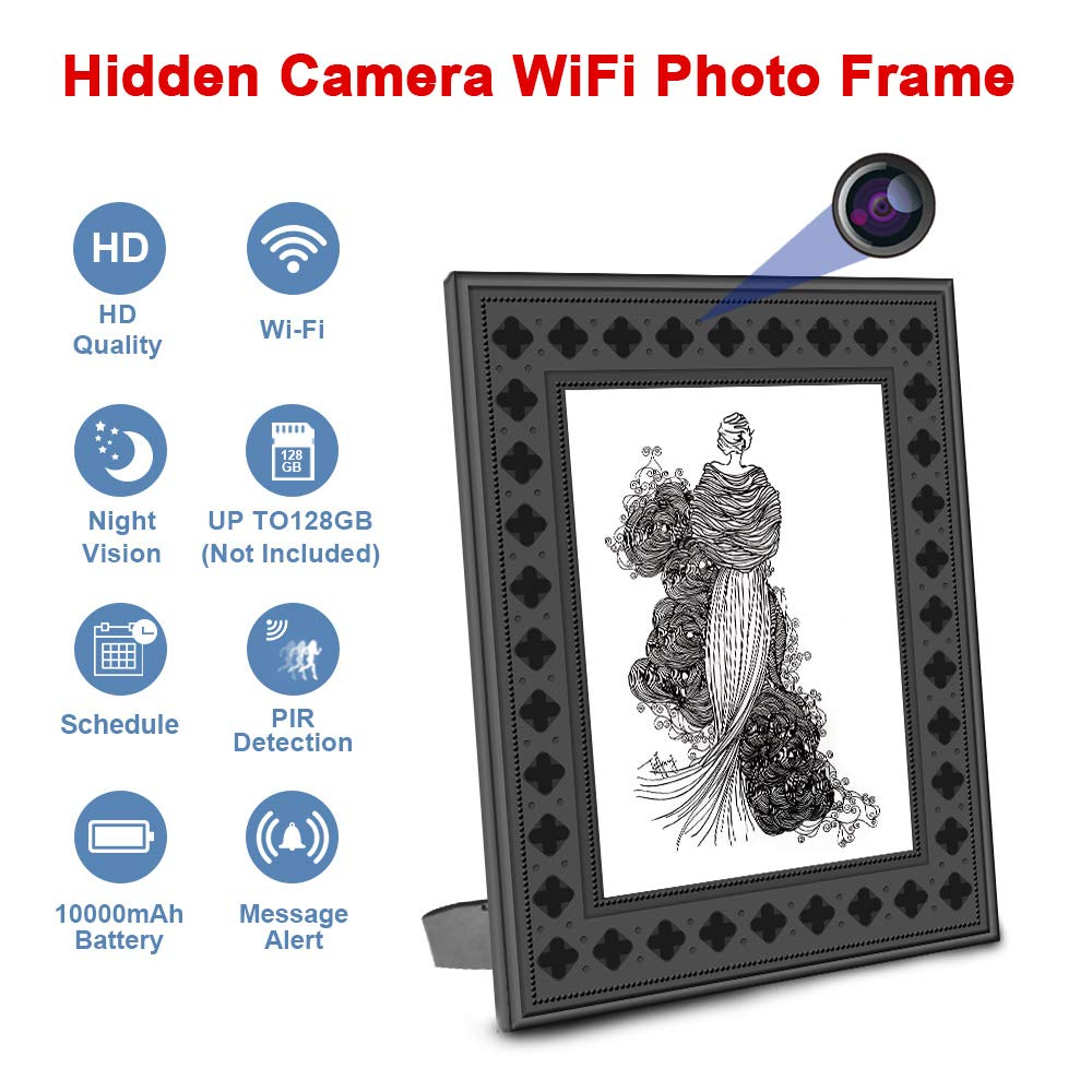 Hidden Spy Camera WiFi Photo Frame 720P HD Home Security Camera Night Vision and Motion Detection Wireless IP Nanny Cam with One Year Battery Standby Time and Instant Alerts To Smartphone Video Only