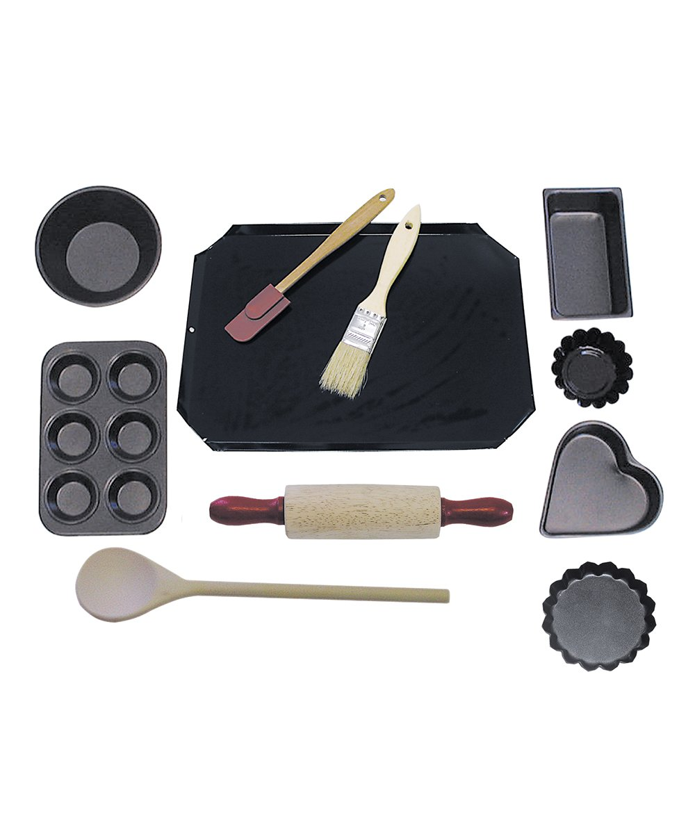 R&M International 2252 Junior Cookie and Baking Set 1 Junior-sized baking set makes a great gift! Includes: Cookie Sheet, Mini Pie Pan, Mini Muffin Pan, Mini Loaf Pan, Mini Heart Pan , 2 Tart Pans, Wood Spoon, Mini Rolling Pin, Pastry Brush, and Spatula Real mini kitchen tools and bakeware