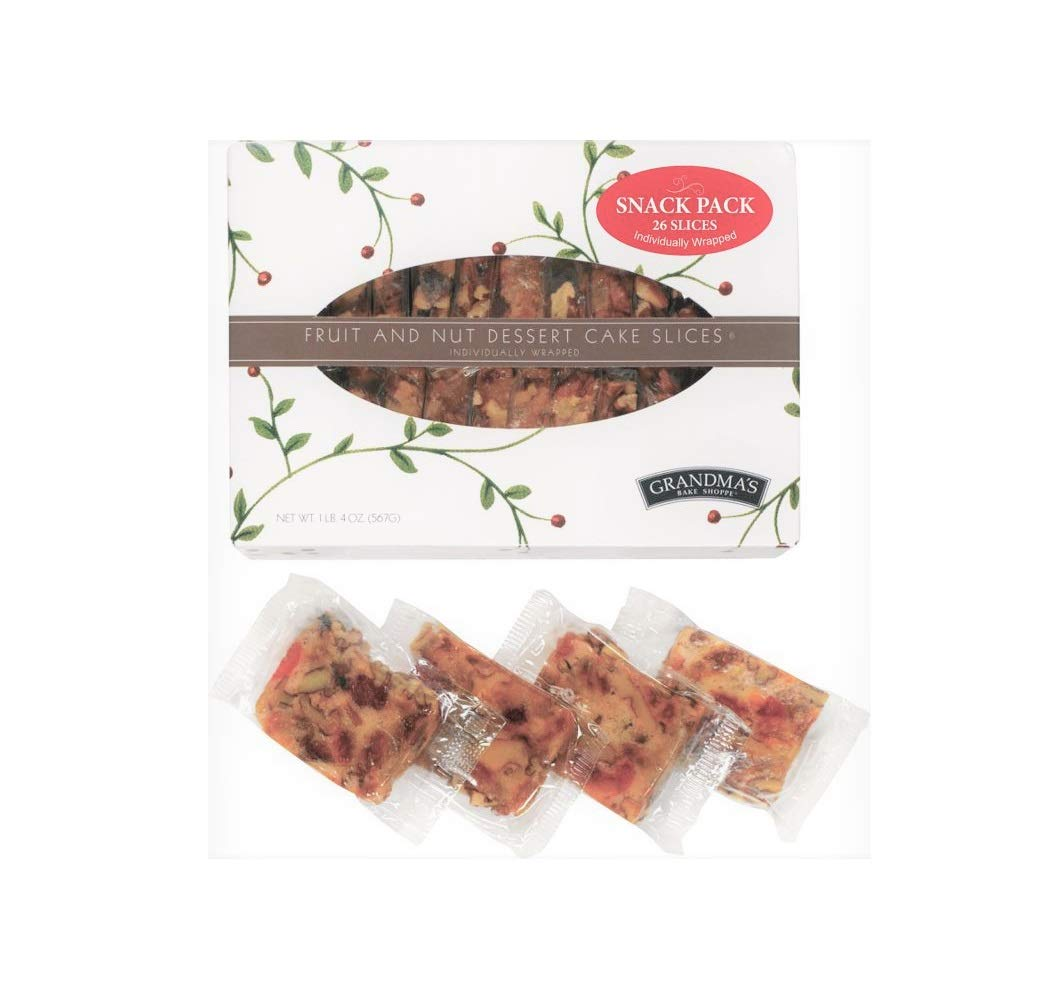 Grandma's Fruitcake, Individually Wrapped Slices, 26 Pieces of Moist Fruit and Nut Cake in Box for an On-The-Go Snack
