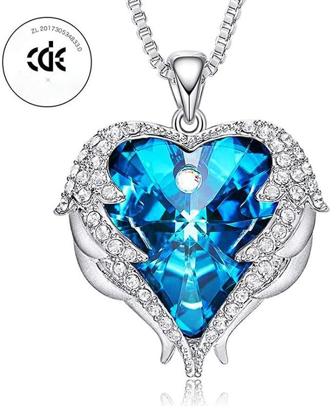 Nuevo para mujer cristales de Ángel De La Guarda Colgante Collar Plateado elementos UK
