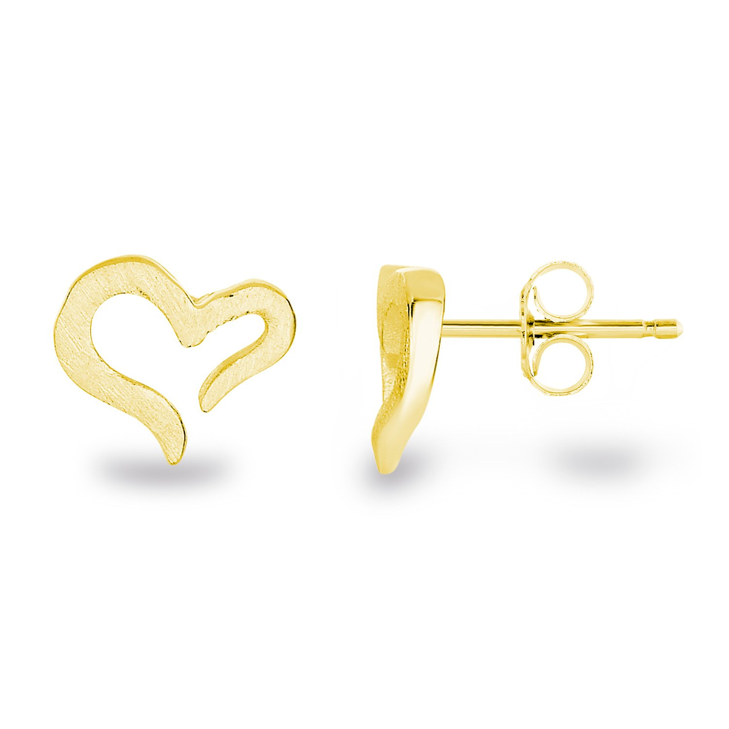 14k Yellow Gold-Plated Sterling Silver Matte Finish Brushed Texture Hollow Open Heart Stud Earrings