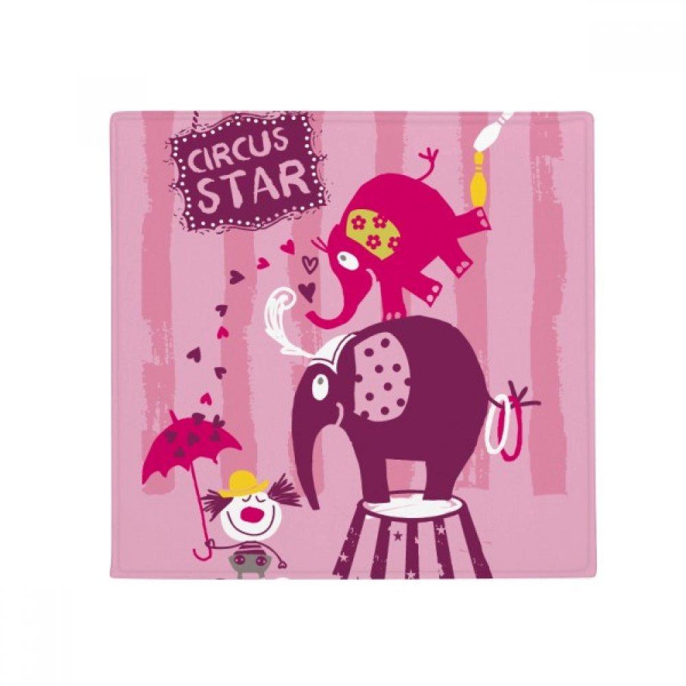 DiYthinker Circus Star Clown Elephant Pink Anti -slip Floor Pet Mat Square Home Kitchen porta 80Cm Gift