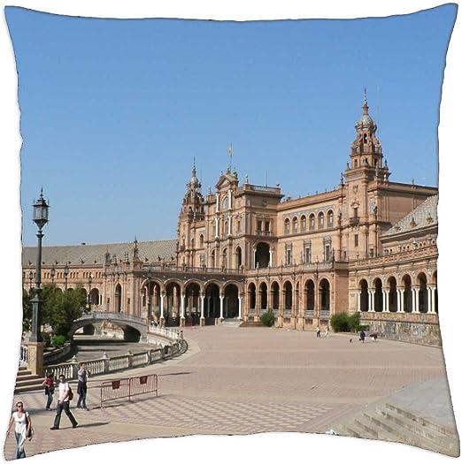 Plaza Espana Sevilla - Funda de cojín (18: Amazon.es: Hogar