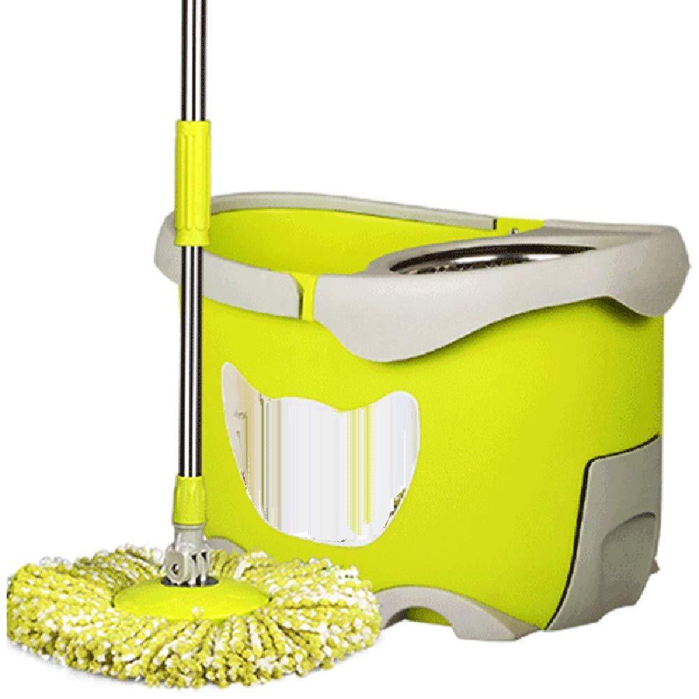 モップ 回転する 手洗い無料 手押し乾燥 ダブルドライブ モップのバケツ ウェットとドライ 緑 4モップヘッド B07HWSXJX4