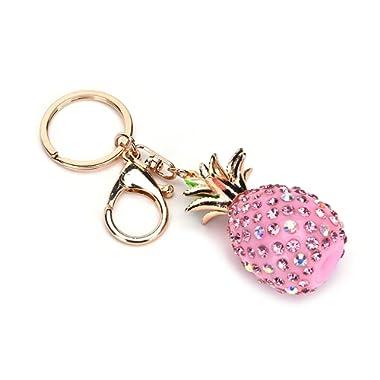 JUNKE Bling Pineapple Pendant Crystal Rhinestone Keyring Fruit Design Keychain Charmed Gifts for Women Lady Girl (Pink)