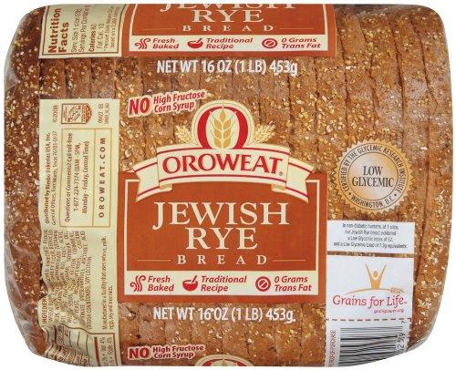 Jewish Bread - Oroweat Sliced Bread 16oz - 24oz Loaf (Pack of 2) Choose Flavor Below (Jewish Rye 16oz)