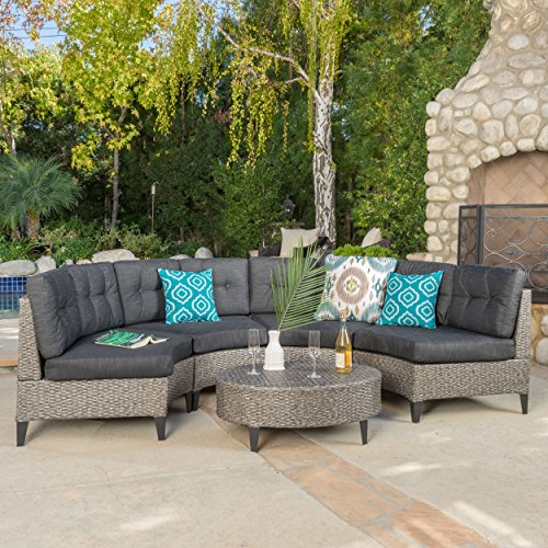 Currituck Outdoor 5 Piece Mixed Black Wicker Sofa Set with Dark Grey Water Resistant Fabric Cushions For Sale