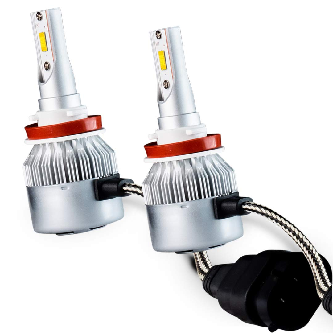 Brightt LED Headlight Bulbs Conversion Kit H11 / H8 / H9 (Pack of 2) High-Power Restoration Kit, 200% Brighter than Stock Headlights – 50,000 Hours Continuous Use, 8000 Lumens – White 6000K for Cars