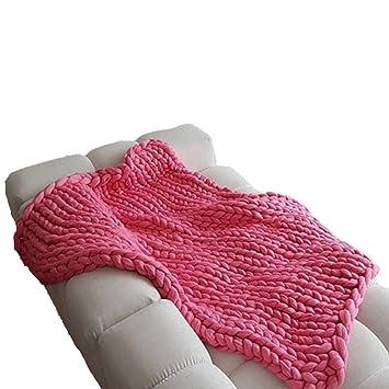 Amazon.com: Manta de punto grueso para sofá, manta hecha a ...