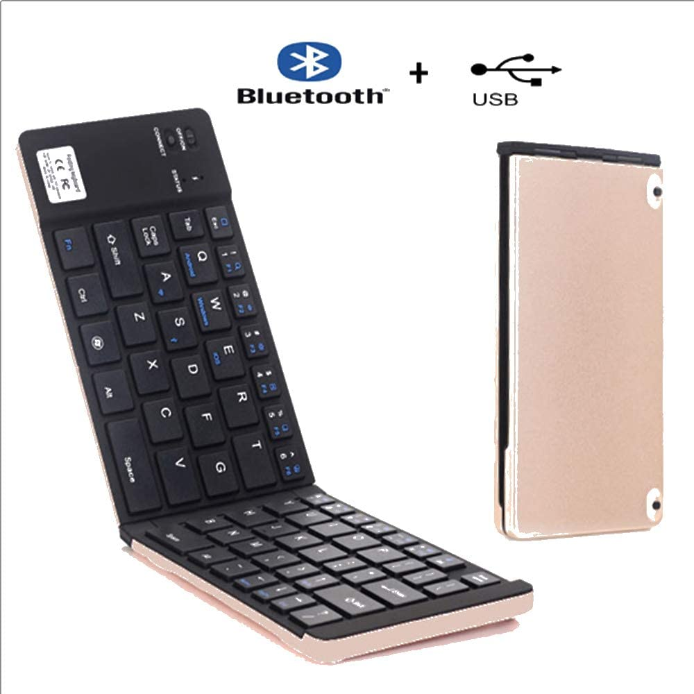 Suitable for Android EMGOD Mini Bluetooth Keyboard Windows Portable Rechargeable Keyboard Supports Dual-Mode Bluetooth and USB Cable iOS Systems,Rosegold