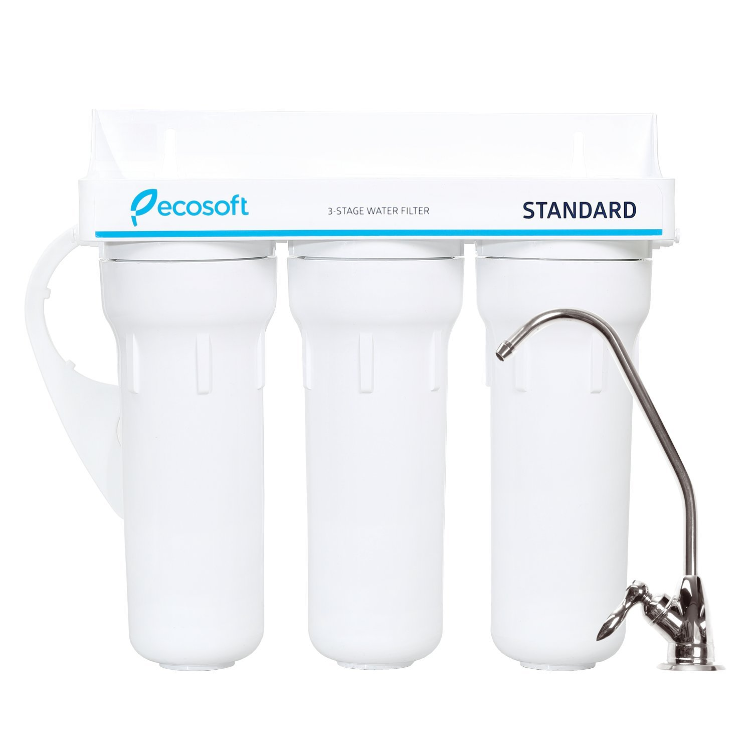 Ecosoft 3 Stage Under Sink Water Filtration System For Clean and Healthy Drinking Water (White)
