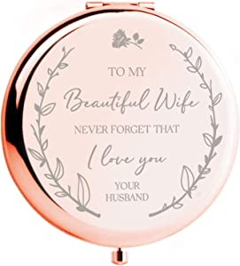 Anniversary for Her - 'to My Beautiful Wife' Compact Mirror I Wedding for Her Birthday Gift for Wife I Love You Wife Gifts I Romantic Gifts for her I Wife Birthday Gifts from Husband