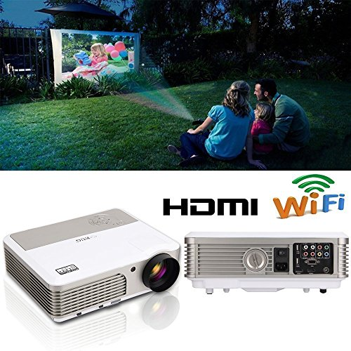 EUG LED Wireless Home Projector with Android WiFi LCD TFT Display 3900 Lumen Smart TV Projector Support Full HD 1080P 720P HDMI USB RCA Audio Speakers&Keystone for DVD Game Console PC Laptop Phones