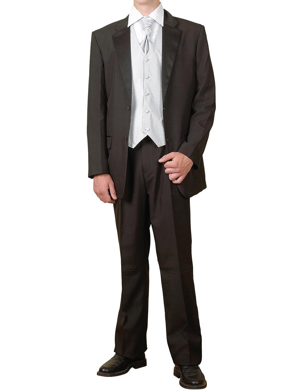 New Mens 7 Piece Black And Silver Tuxedo Suit Vest Ascot Package