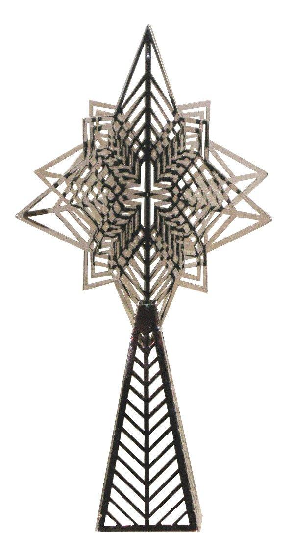 Uniart Frank Llloyd Wright Dana House Skylight Silver Christmas Tree Topper