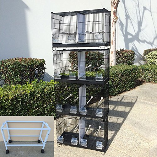Mcage COMBO: 4 Stack and Lock Double Breeder Bird Breeding Cages With Removable Dividers And StandWhite (Cage Double Breeder Lock)