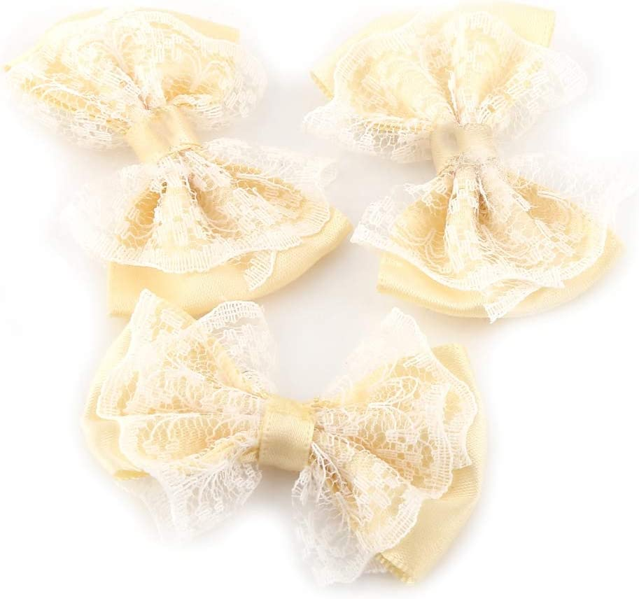 Mini Ruban Satin Noeuds Dentelle Artisanat Bowknot pour V/êtements Jupes Bandeau Chaussettes Emballage Cadeau D/écoration De Mariage HEEPDD 50pcs N/œuds Dentelle Arc Appliques Beige