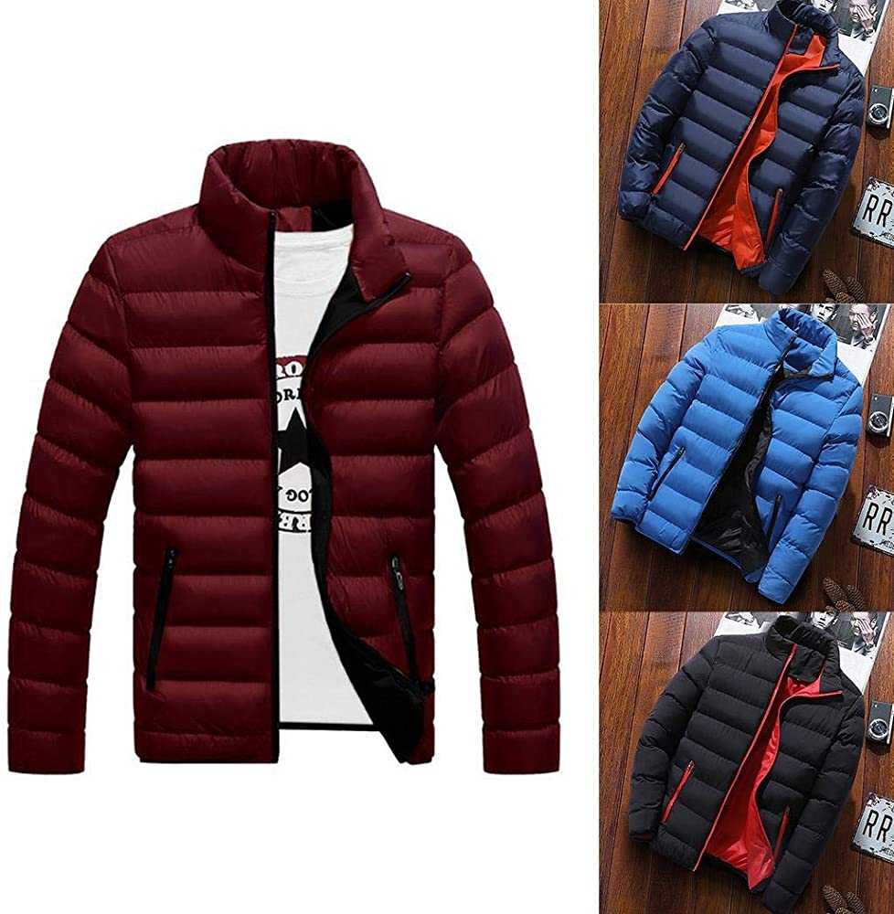 ouxiuli Mens Stand Zipper Warm Solid Thick Coat Jacket Thick Parka Outwear