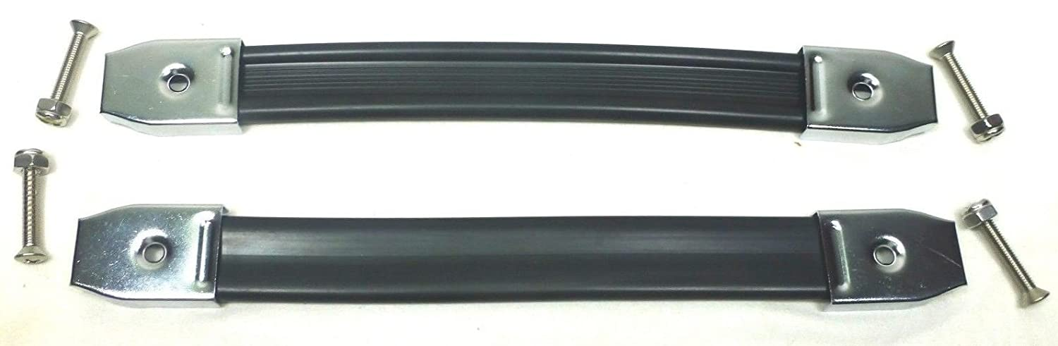 Two Black Heavy Duty Strap Handles with Chrome Ends. 2
