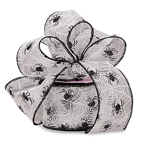 ck/White Spider Web Flocked Sheer Ribbon ()